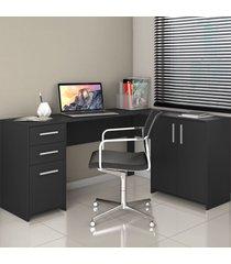 mesa para escritório 2 portas 3 gavetas nt 2005 preto - notavel