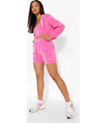 velours sweat shorts, pink