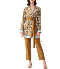 women's dvf april belted silk tunic, size small - brown