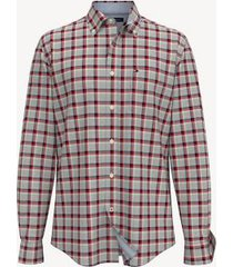 tommy hilfiger men's classic fit essential plaid shirt apple red - xs