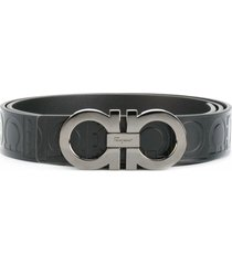salvatore ferragamo all-over double gancini belt - black