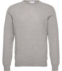 man o-neck plain stickad tröja m. rund krage grå davida cashmere
