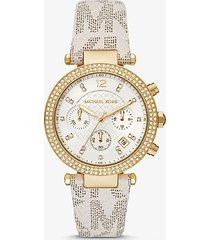 mk orologio parker oversize tonalità oro con logo e pavé - vaniglia (naturale) - michael kors