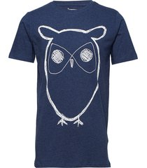 alder big owl tee - gots/vegan t-shirts short-sleeved blå knowledge cotton apparel