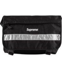 supreme reflective logo messenger bag - black