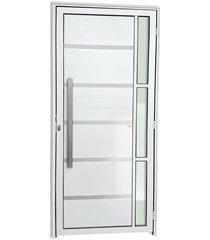 porta esquerda com lambri e puxador em alumínio super 25 miraggio 210x90cm branca