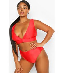 plus mix & match plunge bikini top, red