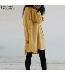 zanzea mujeres más casual de manga larga tapa de la túnica de la blusa camiseta mini vestido corto -amarillo