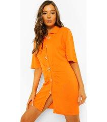 geplooide gebreide jurk met knopen, orange