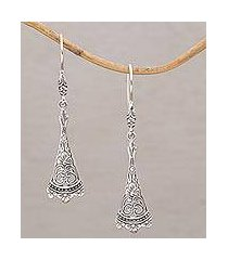 sterling silver dangle earrings, 'knowing' (indonesia)