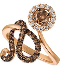 le vian chocolatier diamond floral statement ring (1 ct. tw.) in 14k rose gold