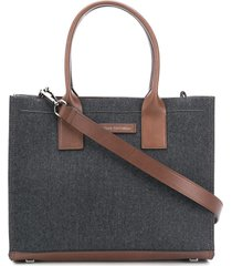 brunello cucinelli wool twill tote bag - grey