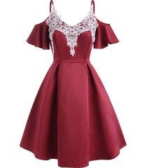 guipure lace applique butterfly sleeve open shoulder dress