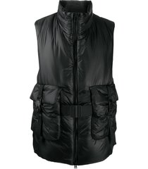 y-3 belted padded gilet - black