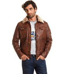chaqueta de cuero dallas marrón ferouch