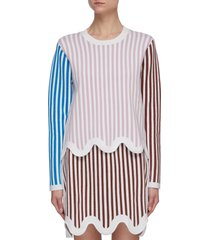 tenny colourblock stripe curvy hem merino wool sweater