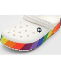 babuche crocs rainbow clog branco/roxo