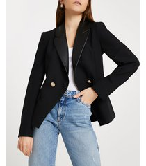 river island womens black double breasted fitted blazer