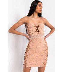 akira pearl world studded bandage mini dress