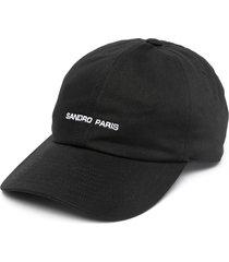 sandro paris logo embroidered cap - black