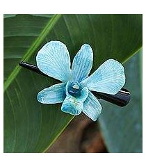 natural orchid hair clip, 'blue orchid love' (thailand)