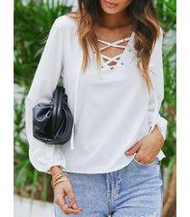 yoins blanco con cordones diseño v cuello top con mangas de linterna