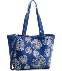 bolsa sacola desigual dupla face bordada azul - kanui