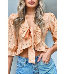 broderie tie front ruffle detail top, coral