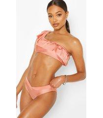 one shoulder ruffle shoulder bikini top, blush