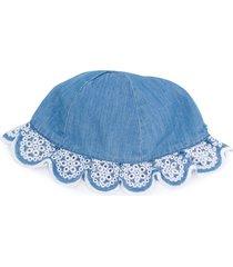 tartine et chocolat crochet-trimmed denim hat - blue