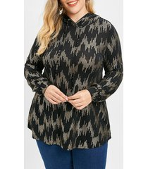 long sleeve plus size sequin print hoodie