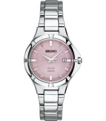 seiko women's solar dress sport stainless steel bracelet watch 27mm sut315