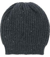 brunello cucinelli chunky knit beanie - black