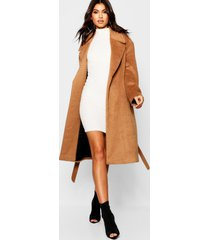 belted brushed wool look coat