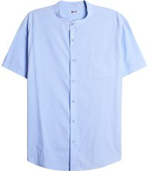 camisa cuello mao unicolor color azul, talla l