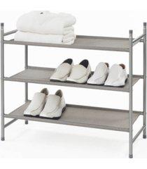 neatfreak harmony twill freestanding stackable 3-tier shoe rack