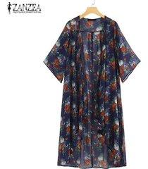 zanzea verano de las mujeres floral de long beach tops kimono cardigan bloqueador solar capa de la chaqueta -azul