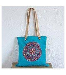 cotton tote bag, 'love mandala' (mexico)