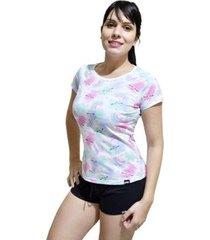 pijama conjunto camiseta arco iris e short feminino - feminino