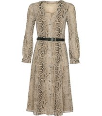 michael kors snake skin effect belted buttoned dress