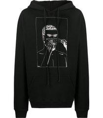 424 long sleeve printed hoodie - black