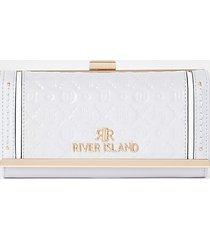 river island womens grey ri embossed patent cliptop purse