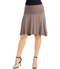 24seven comfort apparel a-line band waist knee length skirt