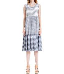 max studio women's striped shift dress - indigo - size l