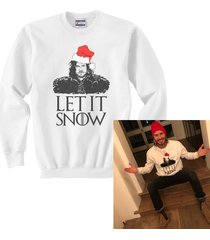 let it snow jon snow game of thrones sweatshirt white sweater jumper