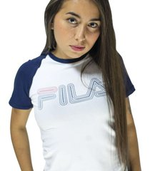 camiseta para mujer fila manga ranglan logo rayado