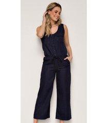 macacão jeans zait pantacourt brisa - feminino
