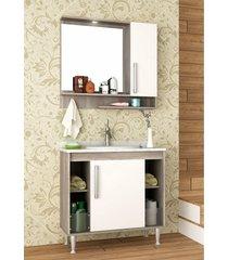 conjunto para banheiro brisa barrique/branco c/ marmore branco bosi - branco - dafiti