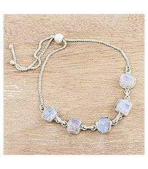 rainbow moonstone link bracelet, 'modern harmony' (india)