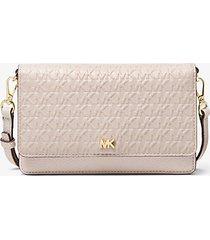 mk borsa a tracolla convertibile in pelle con logo impresso - sabbia chiaro (naturale) - michael kors